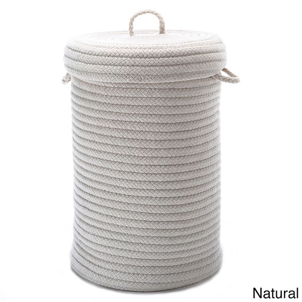 Solid Textured Wool-Blend Hamper w/Lid - NATURAL - 16''Lx16''Wx20''H