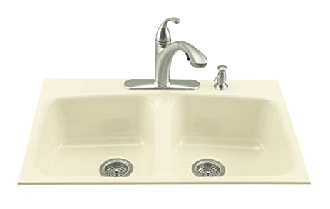 KOHLER K 5898 4 96 Brookfield Tile In Kitchen Sink, Biscuit