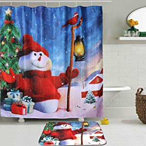 OurWarm Christmas Shower Curtain, Winter Snowman Xmas Tree Fabric Shower Curtain and Mat for Bathroom Decorations