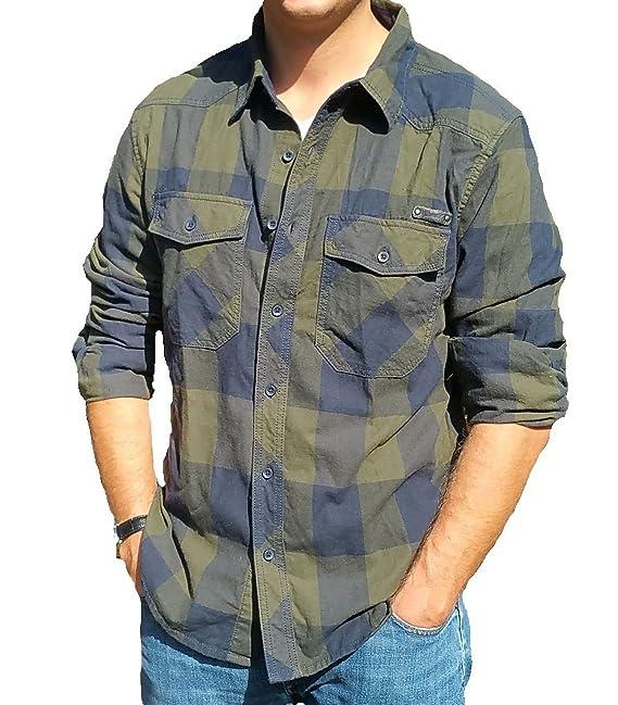 brandit camicia uomo  Brandit, camicia da Uomo, In Flanella Olive-Blue XXL:  ...