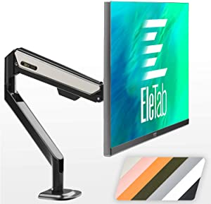EleTab Single Monitor Desk Mount - Height Adjustable Single Monitor Stand Fits for Computer Screen 17 to 32 inches, Hold up to 19.8 lbs, White
