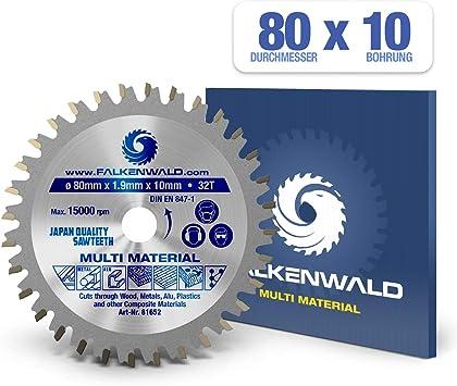 FALKENWALD - Hoja de Sierra Circular 80 x 10 mm - Ideal para ...