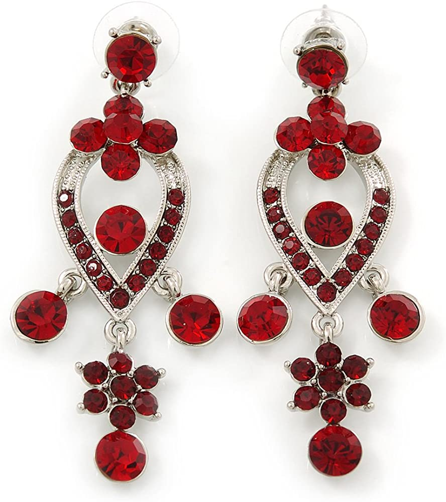 Amazon Com Ruby Red Austrian Crystal Chandelier Earrings In Rhodium Plating 60mm L Jewelry