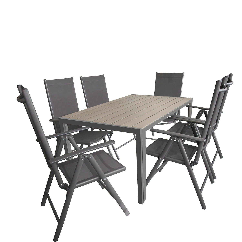 7tlg Gartengarnitur Aluminium Gartentisch Mit Polywood Tischplatte