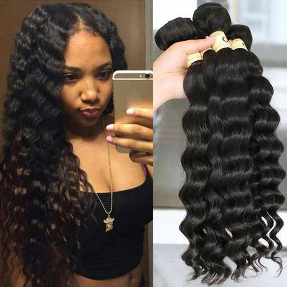 QTHAIR 10a Peruvian Virgin Hair Loose Wave 26 inch 100g 100% Unprocessed Loose Deep Wave Peruvian Human Hair Weave 1Bundle 100g Natural Black Color by QTHAIR