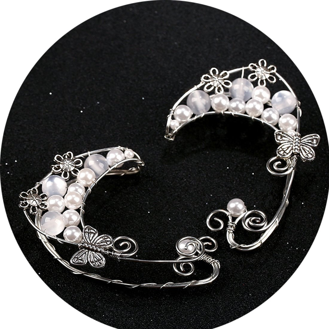 Handmade Ear Cuffs,Pearl Flower Fairy Cosplay Clip On Earrings Jewelry (White)