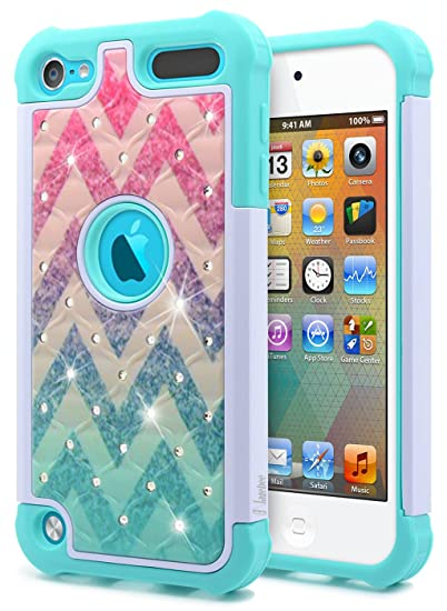 huge selection of 687f8 4b6a3 iPod Touch 7th/6th /5th Generation Case, iPod Touch 7/6/5 Case for Women  Girls Kids, NageBee Glitter Diamond Hybrid Protective Studded Rhinestone ...