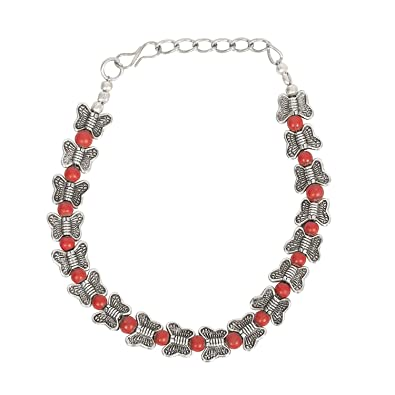 Unibrand The Indian Handicraft Store Red Stone Oxidised Silver