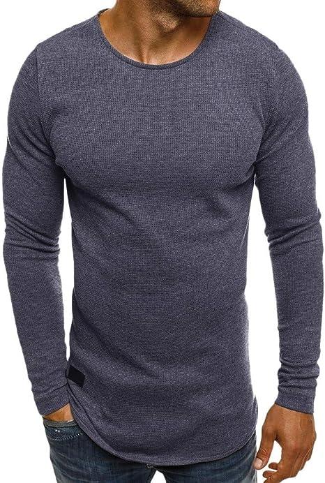 Wawer Casual Hombres Blusa, Mens Mango Largo – Sudadera con Capucha Camisas tee Camiseta, El Invierno del Otoño sólido Pull réaliste Agujero Shirts, EU: 36 – 42, Color Bleu Foncé, tamaño Medium: