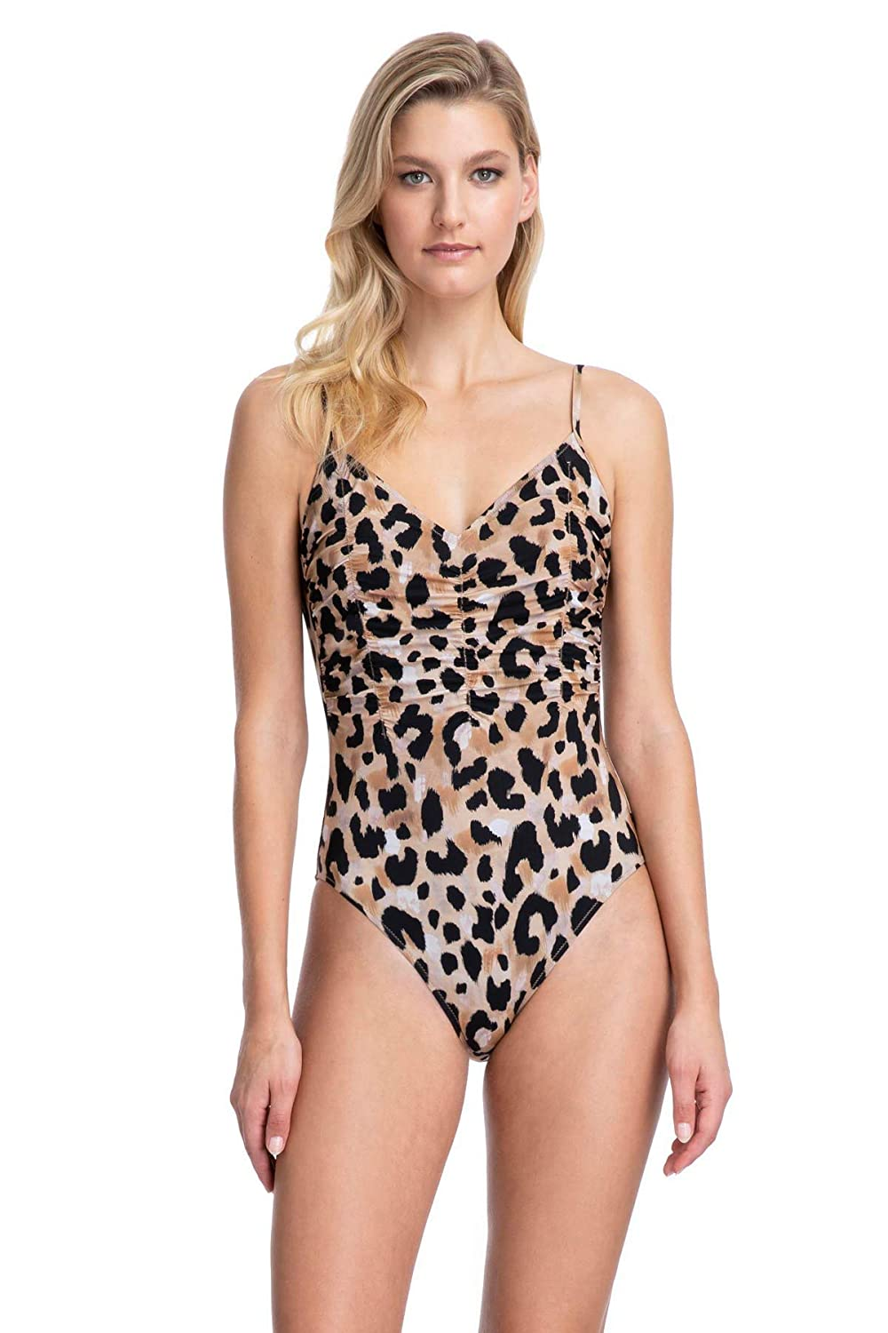 Gottex Womens Thin Strap V-Neck One Piece Swimsuit
