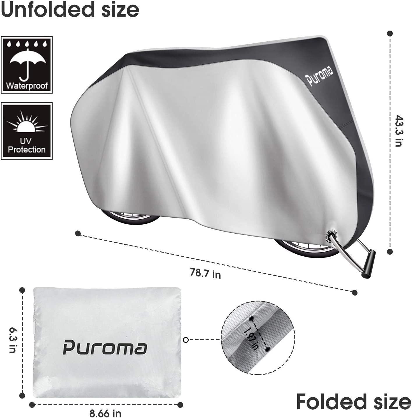 Puroma Bike Cover XL 210D Outdoor Waterproof Bicycle Covers Rain Sun UV Dust Wind Proof with Lock Hole Ideal for Mountain Road Electric Bike