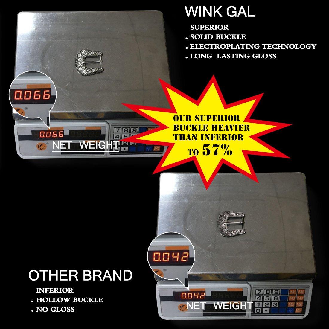 Wink Gal Women's Boho Metal Western Double Buckle Belt Sliver (Suit pants size 31''-34''(US size 12-16), Rivet Width Approx. 1'') by Wink Gal (Image #3)