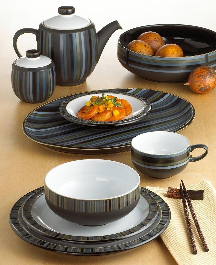 Denby Jet Stripes Tea Plate and Covered Sugar Bowl, Set of 2