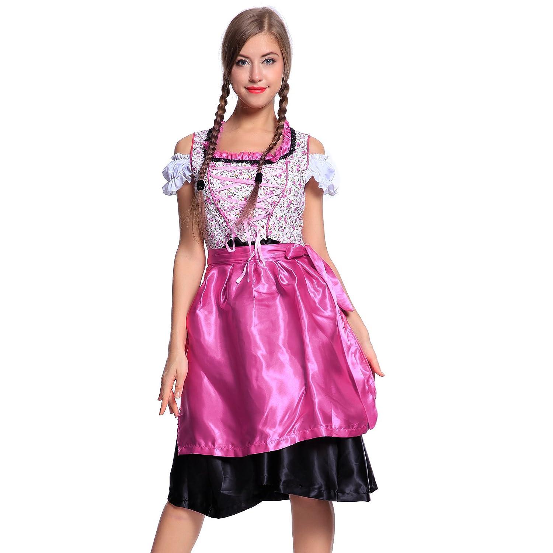 Oktoberfest 3tlg Karneval Tracht Kleid Trachtenmode Dirndl + Bluse + Schuerze Trachtenkleid