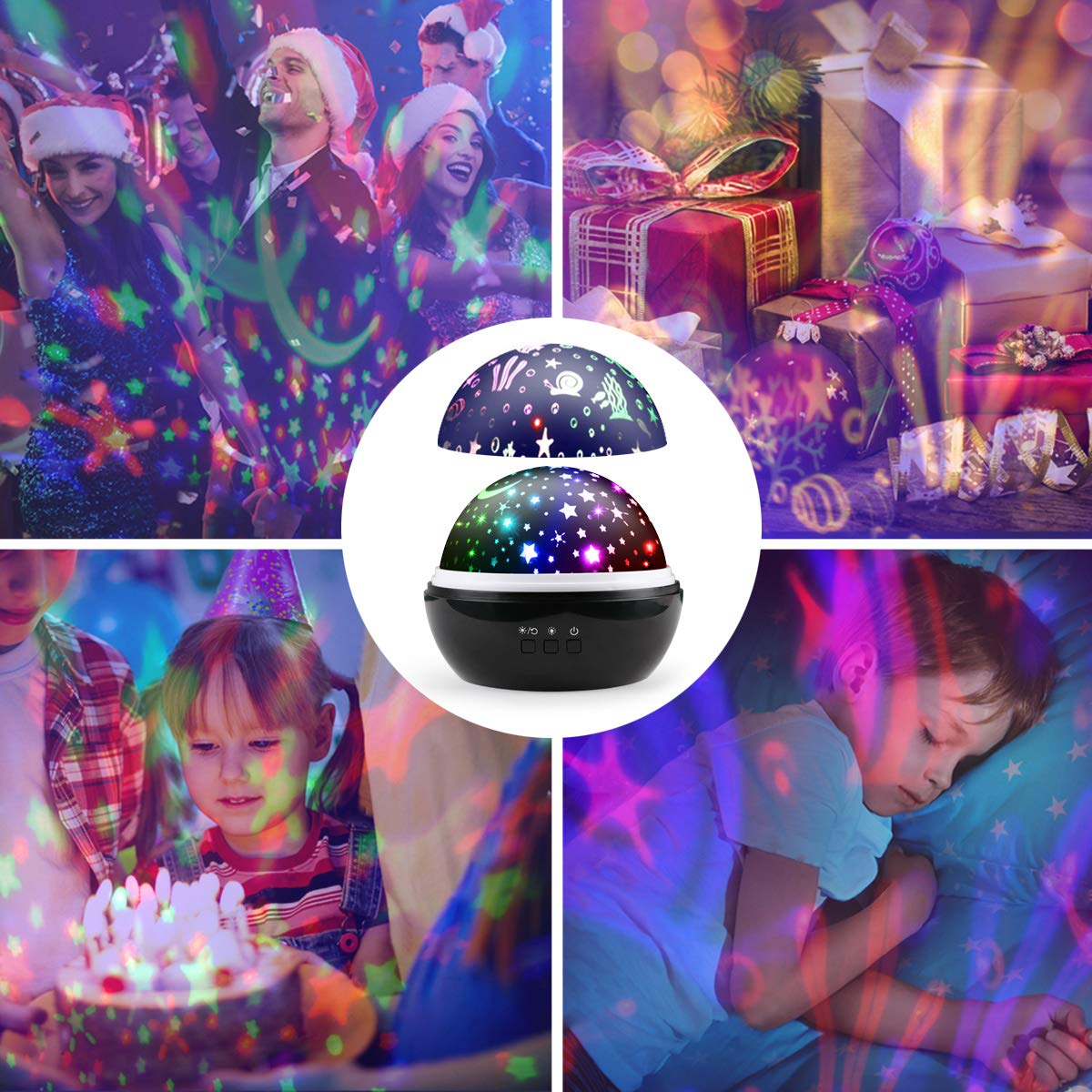 Sternenhimmel Projektor Lampe, Ifecco LED Nachtlicht Lampe 360° RotierendBeleuchtung mit 8 Romantische Licht, Perfektes Geschenk für Babys, Kinder, Geburtstag, Weihnachten, Halloween (Schwarz)