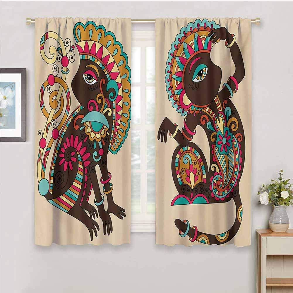 "Qenuan Blackout Curtains Room Curtains Tribal Tribal Patterns on a Monkey Tailed Posing Animal Wildlife Creatures Print Multicolor,Waterproof Window Curtain 84""x84"""