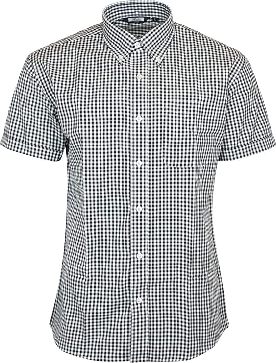 Men's Vintage Sweaters, Retro Jumpers 1920s to 1980s Relco London Mens Classic Gingham Shortsleeve Button Down Polycotton Shirt $44.95 AT vintagedancer.com