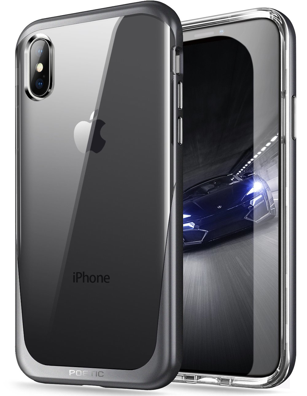 best service 5cf6f 5ab16 iPhone Xs Clear Case, iPhone X Clear Case, Poetic Lucent [Metallic Coating]  [Scratch Resistant Back] Clear Hybrid Bumper Slim Case for Apple iPhone X  ...