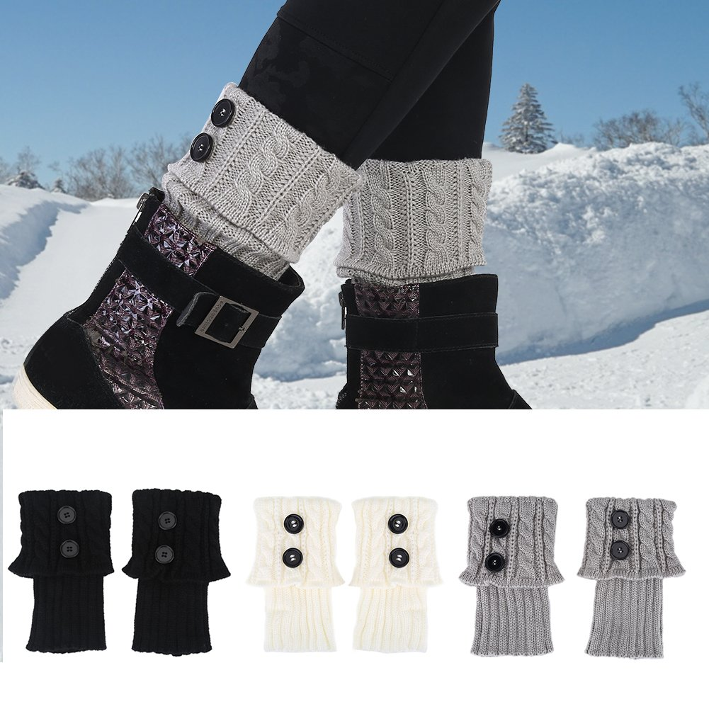Boot Cuff Leg Warmers,3 Pair Short Women Fashion Crochet Boot Cuffs Winter Topper Cable Boot Knit Sock(Black+White+Gray)