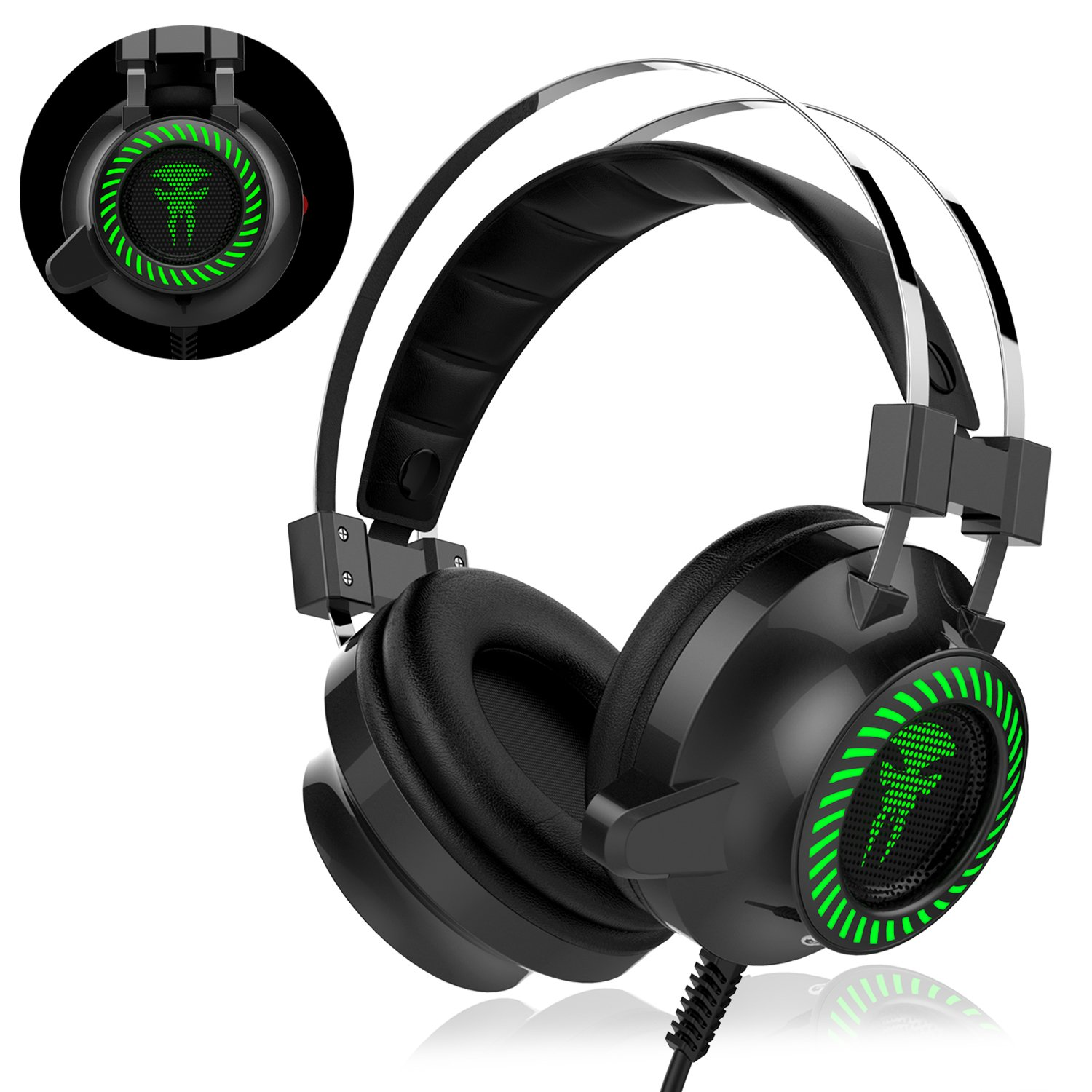 8620be49779 Gaming Headset, Nicksea Over-Ear Gaming Headphones with Microphone, Bass  Stereo Surround Sound Volume Control, ...