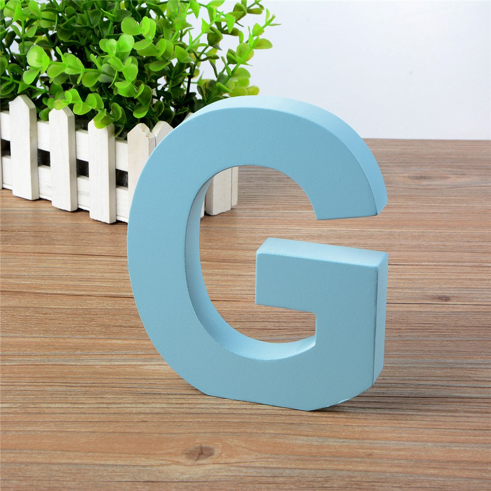 Baby Name and Girls Bedroom D/écor Belupai® Blue Decorative Wall Letter for Childrens Nursery Babys Room Wooden Hanging Wall Letters Y