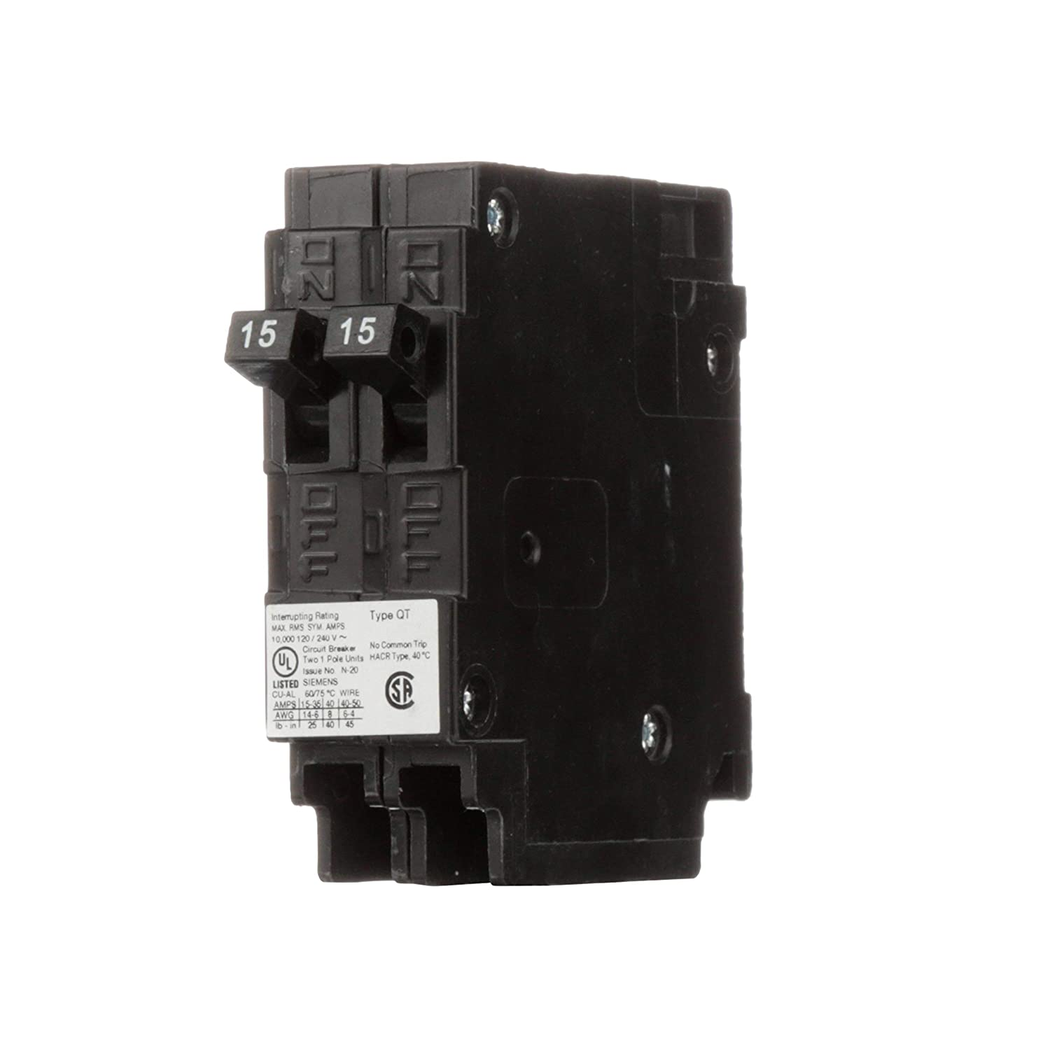 Siemens Q1515nc Two 15 Amp Single Pole 120 Volt Non Current Limiting 240 Rv Wiring Diagram Get Free Image About Circuit Breaker Thermal Magnetic Breakers Amazon Canada