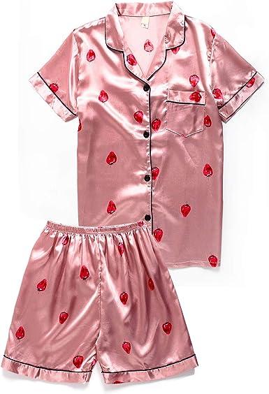 Femme Satin Soie Manche Courte Haut Short Pyjama 2Pcs Ensemble