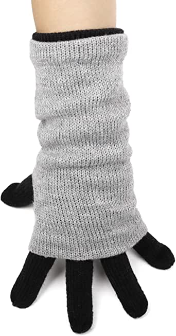Flammi Women's Warm Knit Gloves Coupled with Fingerless Gloves Mittens