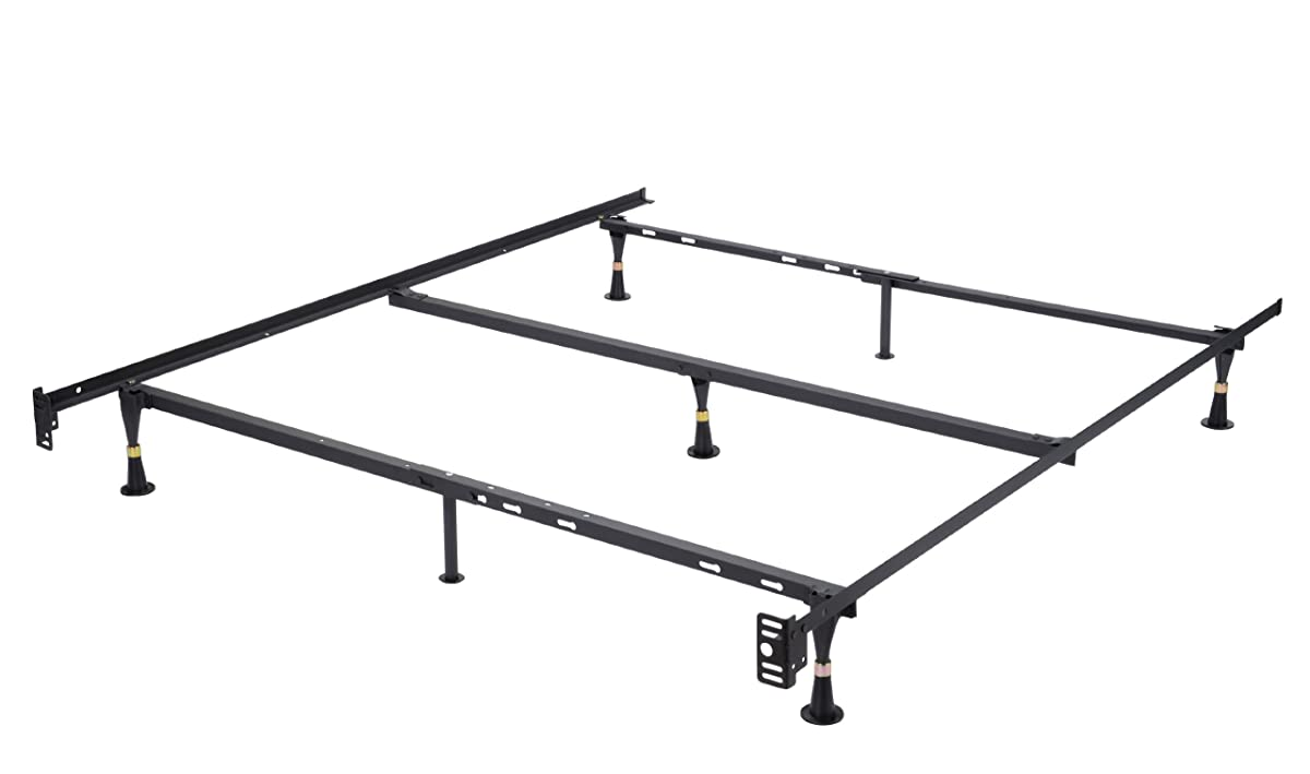 Heavy Duty 7-Leg Adjustable Metal Queen, Full, Full XL, Twin, Twin XL, Bed Frame With Center Support & Glides Only
