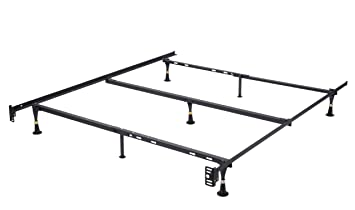 7 leg heavy duty metal queen size bed frame with center support and glides only