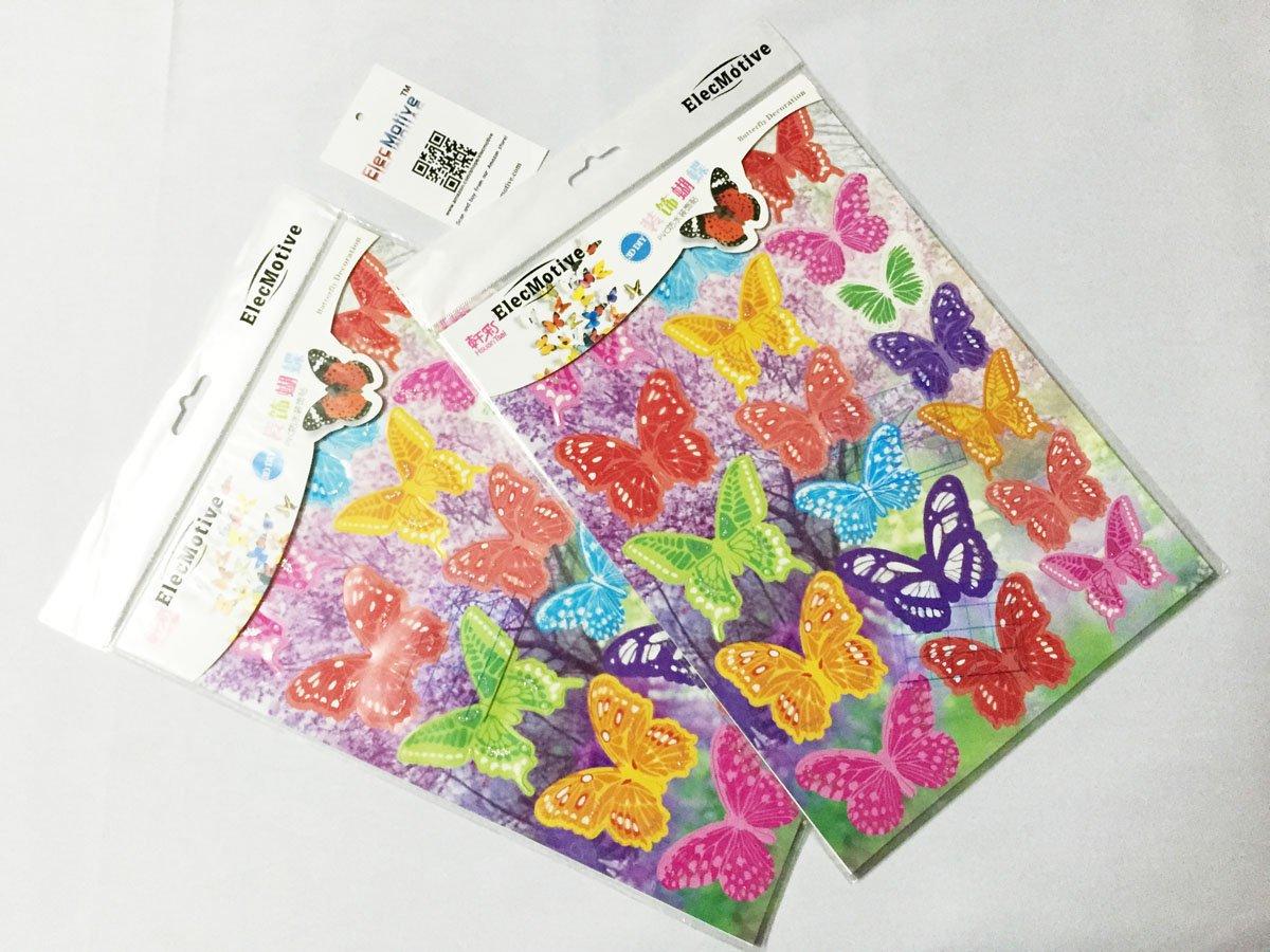 ElecMotive 36 Stickers Muraux de Papillons 3D Sticker Mural Autocollants Bricolage D/écoration pour Salon Mariage Fammille ou Chambre