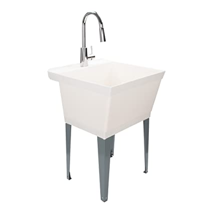 Superb Laundry Sink Utility Tub With High Arc Chrome Kitchen Faucet By MAYA   Pull  Down Sprayer Spout, ...