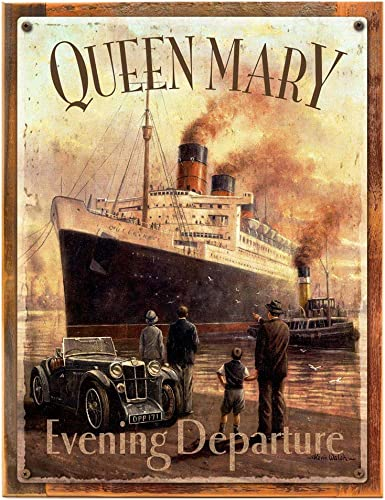 OMSC Wood-Framed Queen Mary Cruise Ship Metal Sign Ship and Nautical Decor Wall Accent for Kitchen on Reclaimed, Rustic Wood