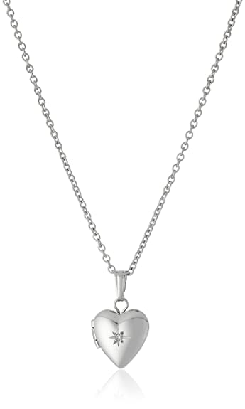 w silver diamond carat en ip heart locket t tw miabella sterling pendant