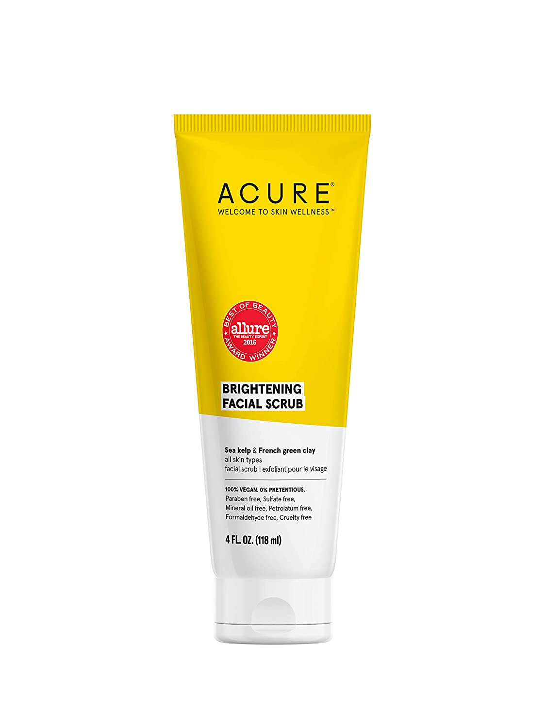 Acure Brightening Facial Scrub |100% Vegan |For A Brighter Appearance | Sea Kelp & French Green Clay - Softens, Detoxifies and Cleanses | All Skin Types | 4 Fl Oz (Packaging May Vary) (ET1012): Health & Personal Care