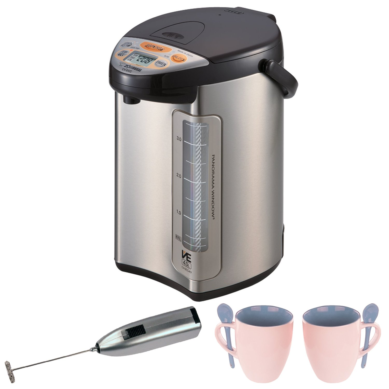 Zojirushi 586361-CV-DCC40XT America Corporation Ve Hybrid Water Boiler And Warmer, 4-Liter, Stainless Dark Brown Includes Milk Frother and Two Mugs with Spoons by Zojirushi (Image #1)