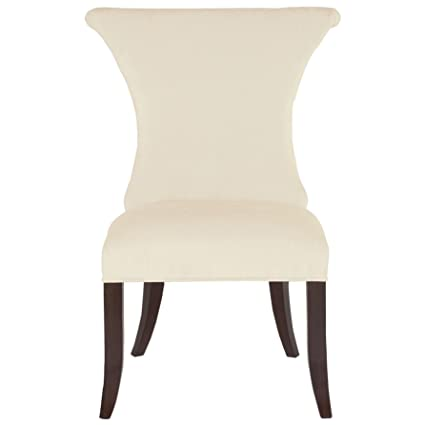 Kathy Kuo Home Laurette Modern Classic Ring Pull Ivory Side Dining Chair