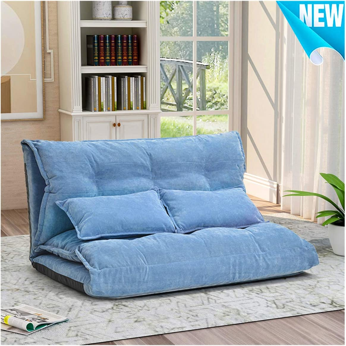 Foldable Floor Couch Lounge, Norcia Adjustable 45 Thicken Floor Sofa Bed with 2 Pillows, Sleeper Sofa Chair Chaise Loveseat Futon Cushion Seating for Bedroom and Living Room