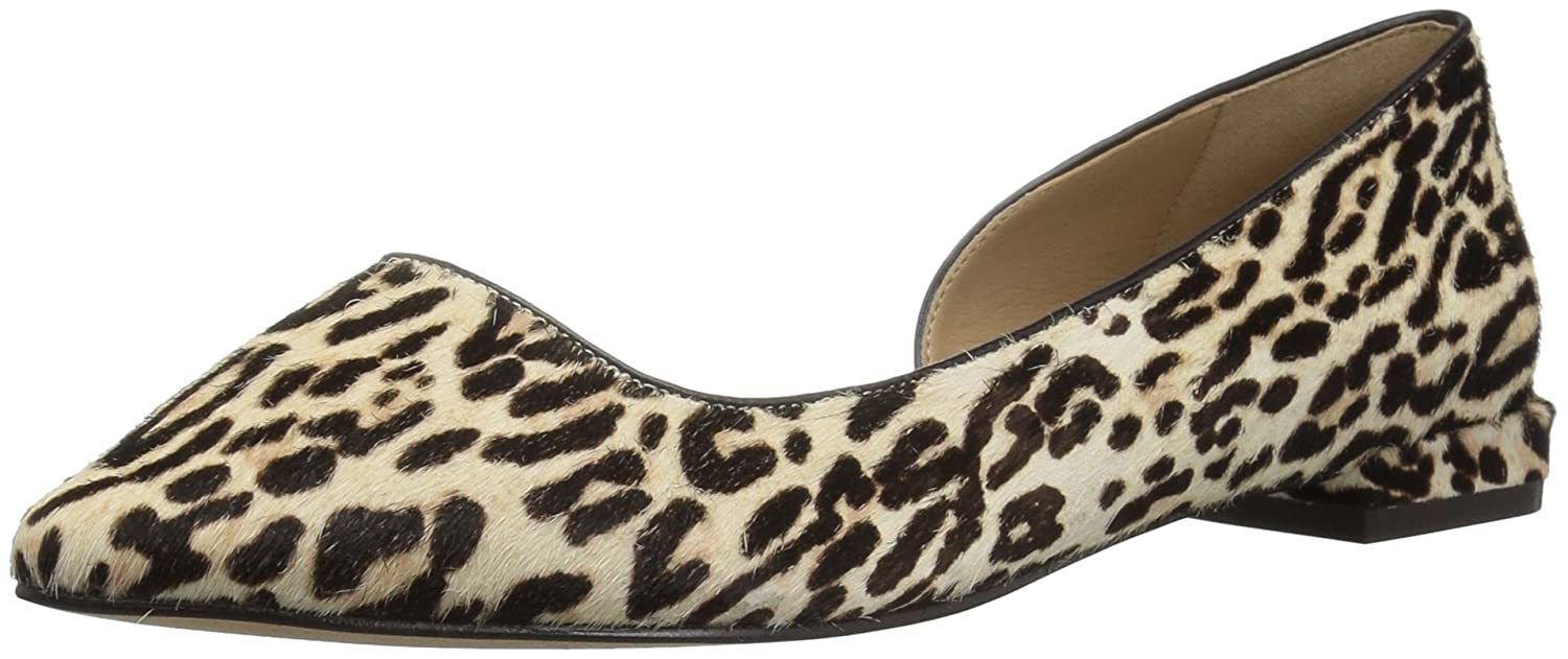 The Fix Women's Emma Pointed-Toe D'Orsay Ballet Flat B072Y1TR39 7.5 B(M) US|Snow Leopard Calf Hair