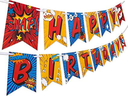 Superhero Birthday Party Supplies Banner by Aliza | Baby Boy Toddler Kids Birthday Super Hero Decorations – Huge 8-Foot Superhero Garland Decor – The ...