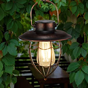 pearlstar Hanging Solar Lantern Outdoor Vintage Garden Solar Light Retro Solar Lamp for Garden Yard Patio Pathway Tree Decoration, Solar Powered Waterproof Landscape Lighting (Copper)