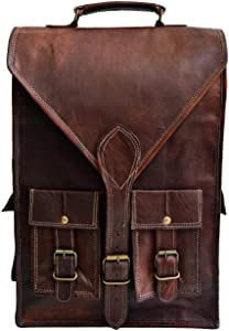 "Jaald convertible leather 15.6"" laptop bag backpack messenger bag office briefcase"