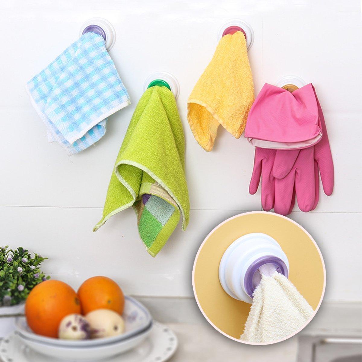 Tacoli Towel Holder Adhesive-2PCS Wash Cloth Clip Holder Clip Dishclout Storage Rack Bath Room Storage Hand Towel Rack- Kitchen Towel Hooks