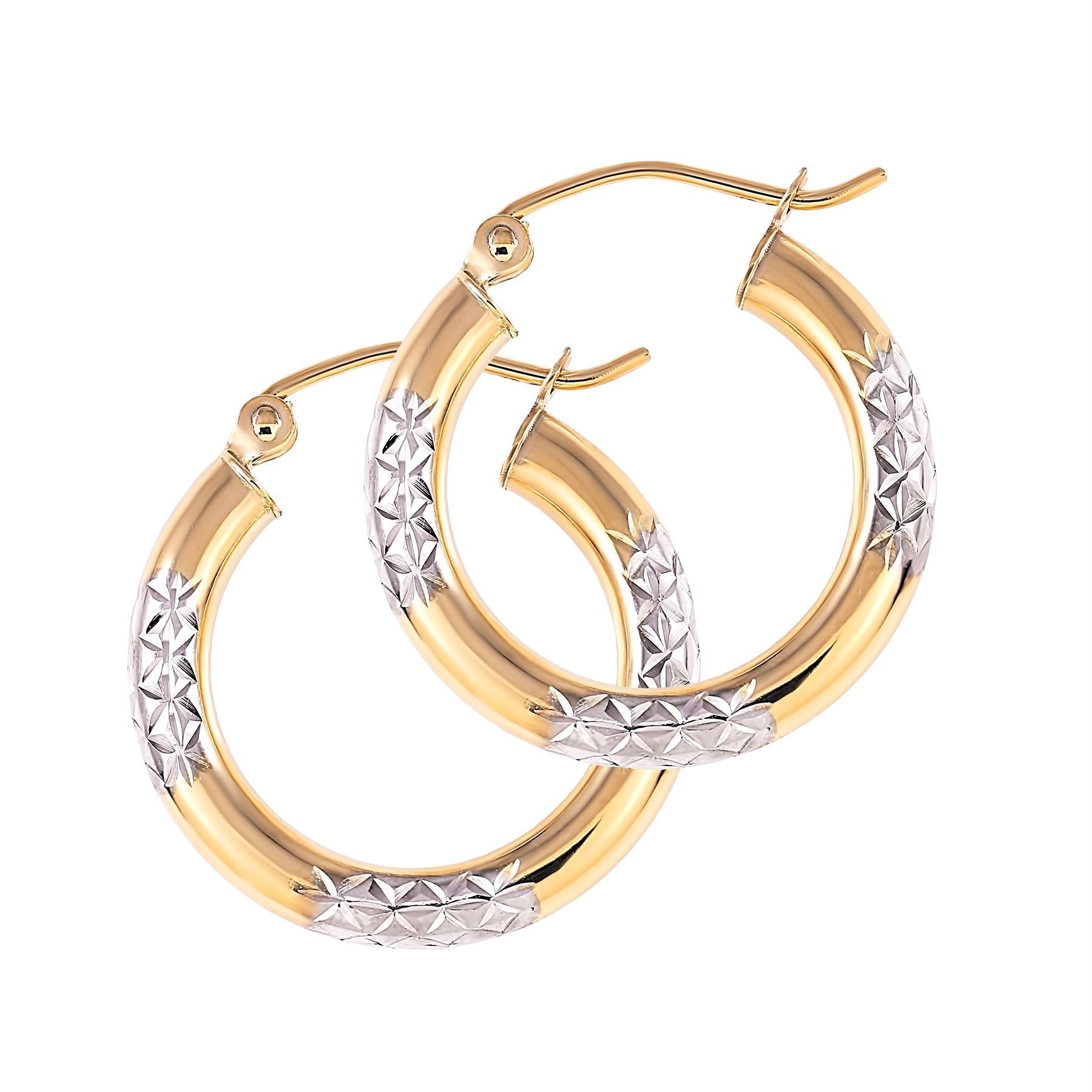 Balluccitoosi Two Tone Earrings - 14k Gold Hoop Earring for Women and Girls - Unique Jewelry for Everyday