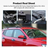 Partol Roof Rack Cross Bars for 2011 2012 2013 2014 2015 2016 Jeep Compass, Roof Crossbars Luggage Rail Rack Cargo Carrier with Vertical Side Bars