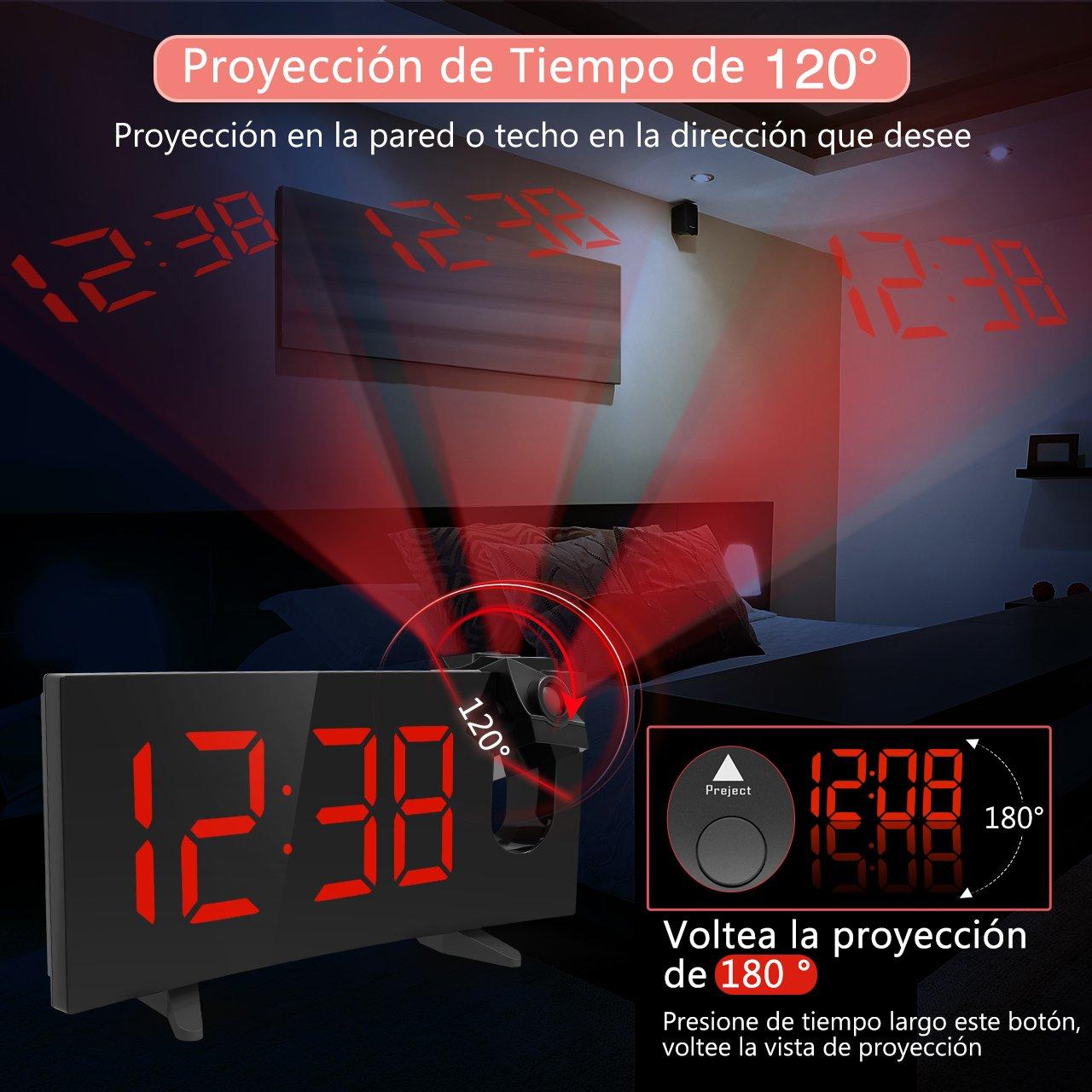 Holife Radio Despertador Proyector, [2018 Actualizado] Despertador ...