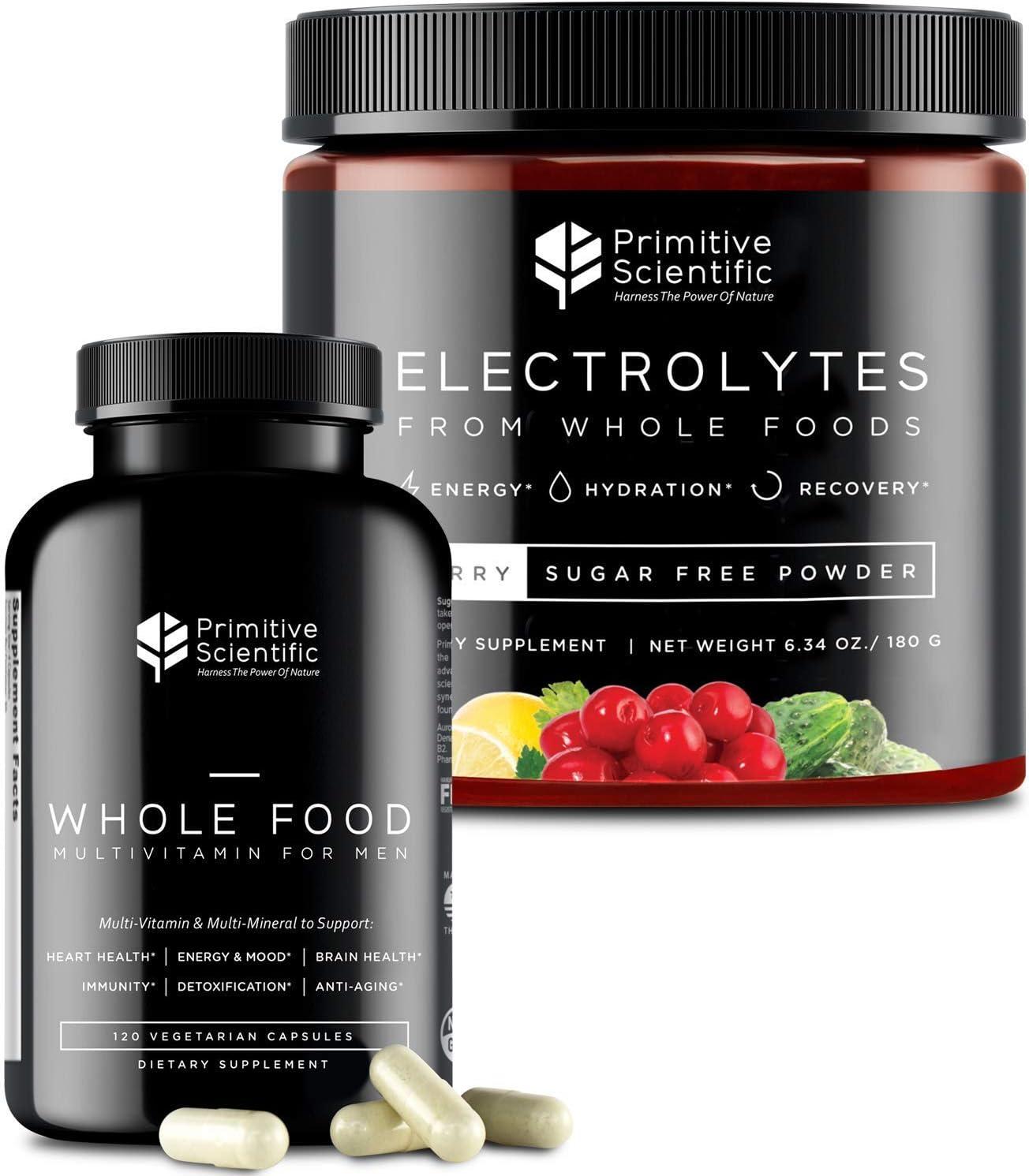 Primitive Scientific Whole Food Supplement for Men's Holistic Health (Bundle) | Men's Multivitamins (120 Vegetarian Capsules) + Sugar-Free Electrolyte Powder (180g) | 100% Natural, Non-GMO
