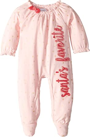 a4fb7e610c Amazon.com  Mud Pie Womens Santa s Favorite Long Sleeve Footed Christmas One -Piece (Infant)  Clothing