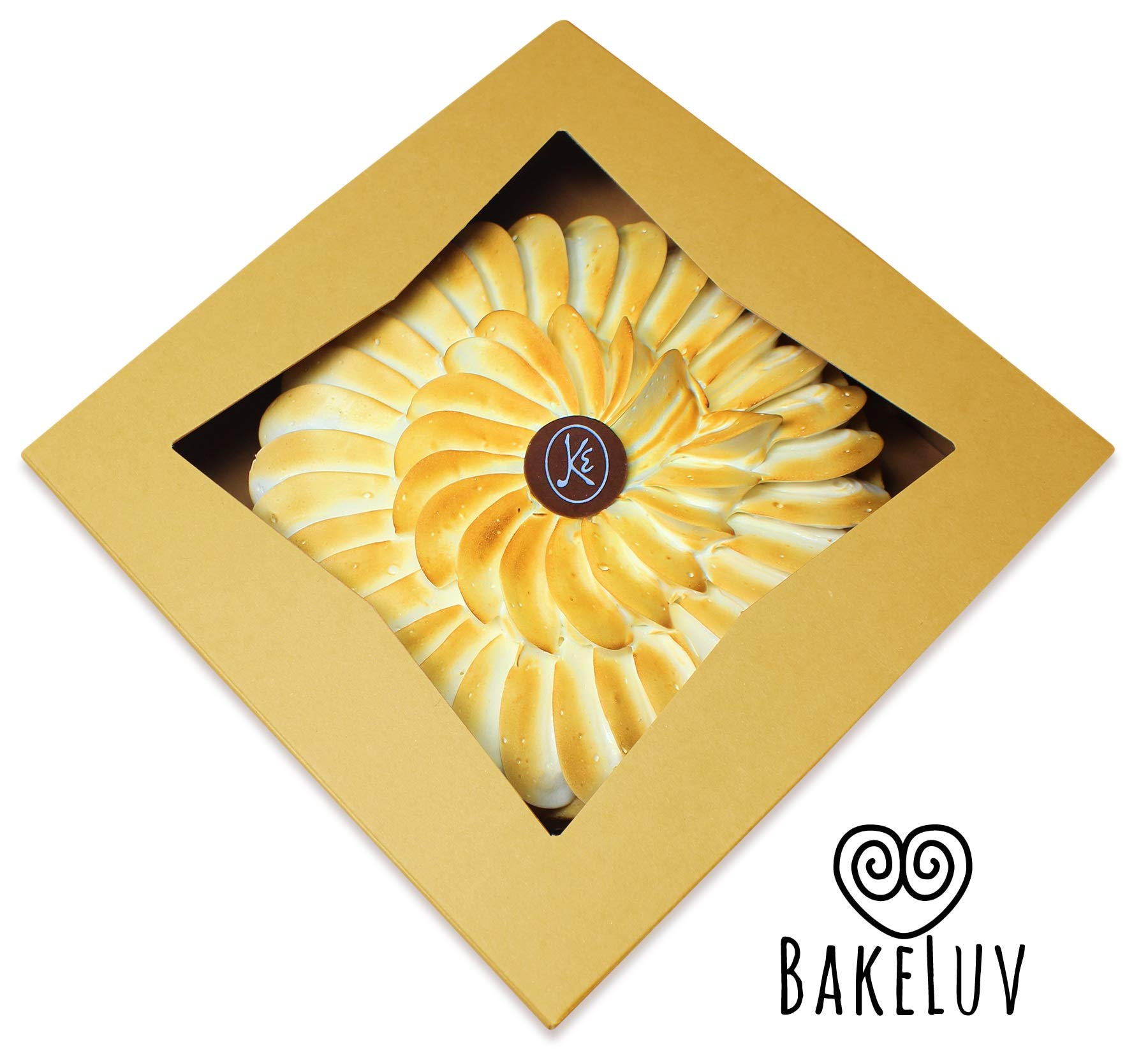 BakeLuv Brown Bakery Boxes with Window 9x9x2.5 inches | 25 Pack | Auto-Popup | Thick & Sturdy 350 GSM | Mini Pie Boxes with Window, Cake Boxes, Cookie Boxes, Dessert, Take Out Boxes, Pastry Boxes by BakeLuv