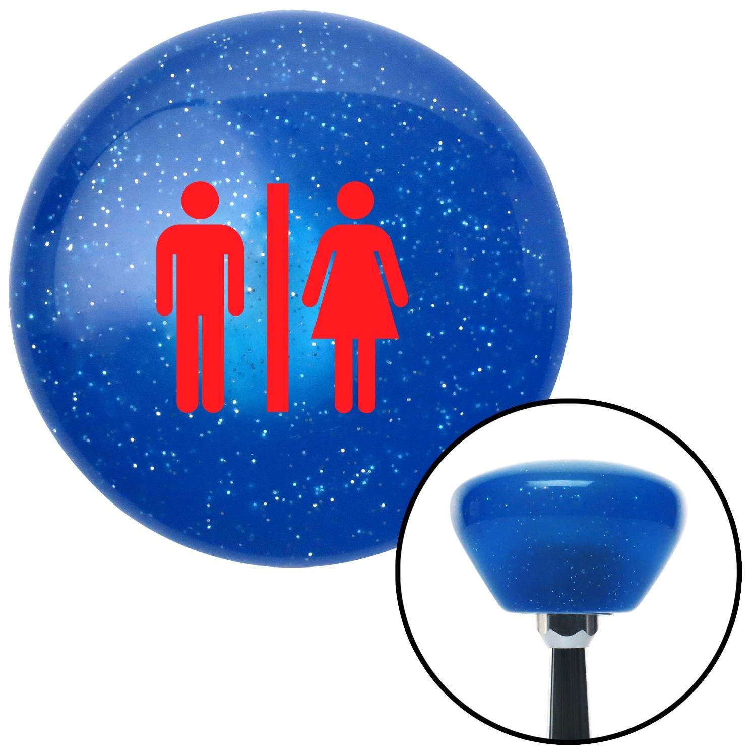 American Shifter 187207 Blue Retro Metal Flake Shift Knob with M16 x 1.5 Insert Red Man /& Woman